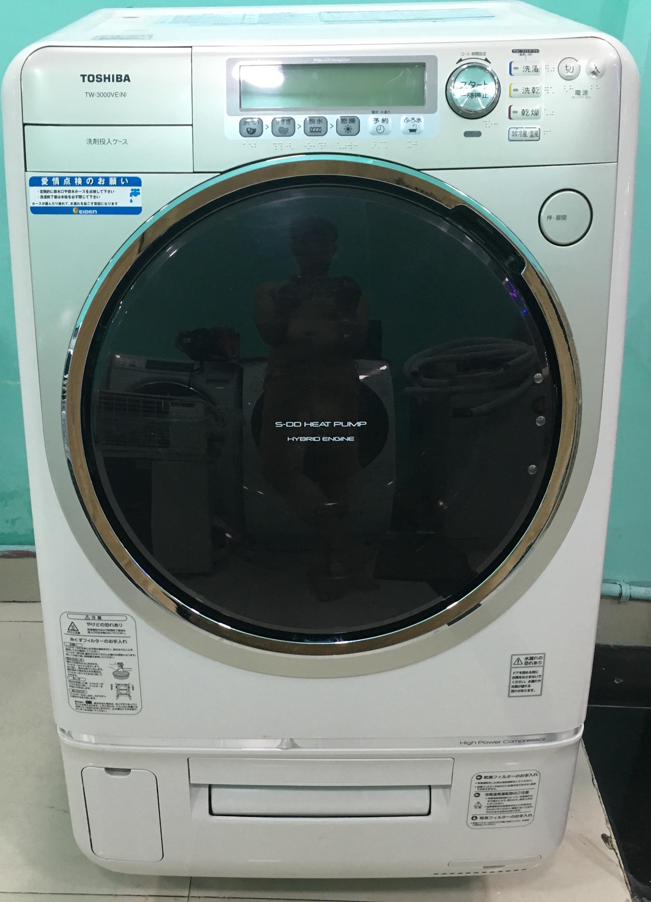 Máy giặt Toshiba TW-2500VC(S) giặt 9kg, sấy 6 cân hai chiều nóng và lạnh  bằng Block, dẫn động trực tiếp